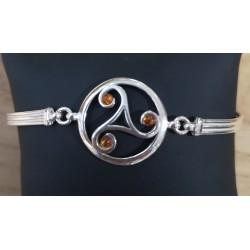 Bracelet Triskel ambre et...